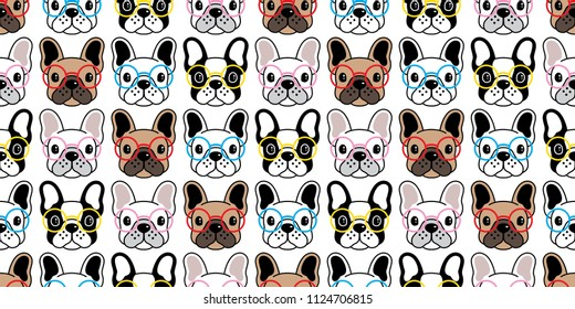 Dog seamless pattern french bulldog vector glasses repeat wallpaper tile background scarf isolated