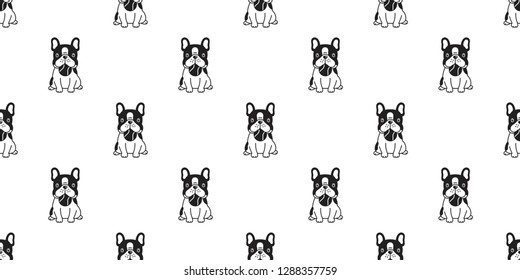 dog seamless pattern french bulldog vector ball toy baseball tennis cartoon scarf isolated tile background repeat wallpaper illustration
