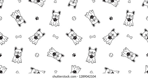 dog seamless pattern french bulldog vector dog paw ball toy baseball tennis cartoon scarf isolated tile background repeat wallpaper illustration
