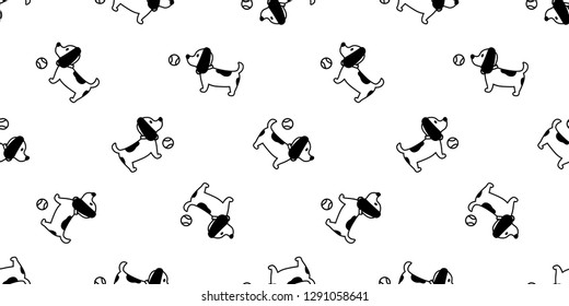 Dog seamless pattern french bulldog vector ball toy isolated paw Breed repeat wallpaper cartoon tile background