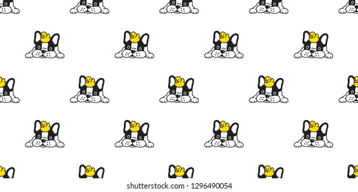 Dog seamless pattern french bulldog vector rubber duck scarf isolated repeat wallpaper cartoon tile background