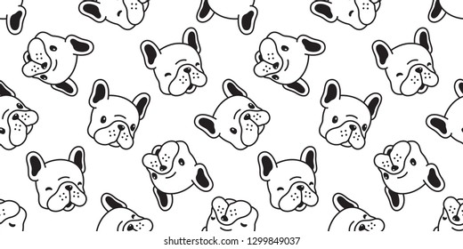 Dog seamless pattern french bulldog vector scarf isolated cartoon tile background repeat wallpaper white