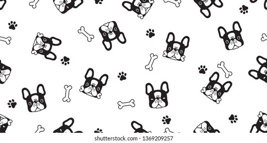 Dog seamless pattern french bulldog paw bone vector footprint head puppy pet scarf isolated tile background repeat wallpaper cartoon illustration