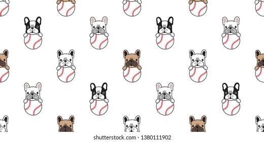 Dog seamless pattern french bulldog vector baseball tennis ball paw bone footprint head puppy pet scarf isolated tile background repeat wallpaper cartoon illustration