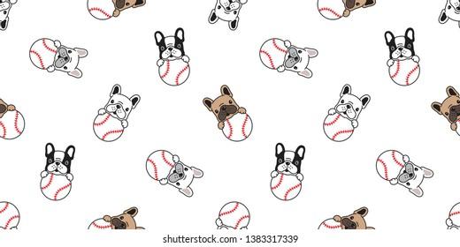 Dog seamless pattern french bulldog vector baseball tennis ball paw footprint bone head puppy pet scarf isolated tile background repeat wallpaper cartoon illustration
