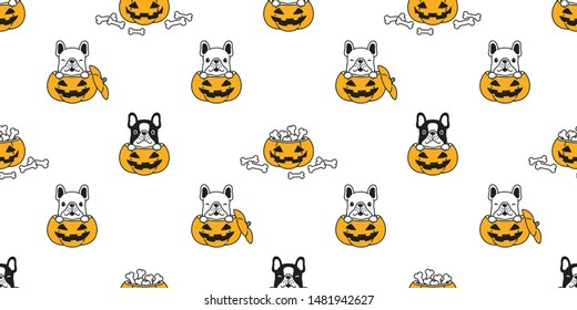 dog seamless pattern french bulldog vector Halloween pumpkin bone scarf isolated repeat wallpaper tile background cartoon illustration doodle design