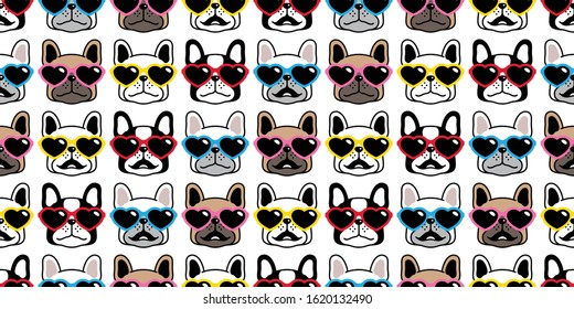 dog seamless pattern french bulldog valentine vector heart sunglasses scarf isolated repeat wallpaper tile background cartoon pet puppy head face doodle illustration design