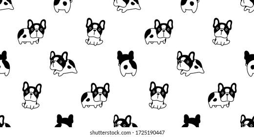 dog seamless pattern french bulldog vector puppy pet repeat wallpaper tile background scarf isolated cartoon doodle illustration design