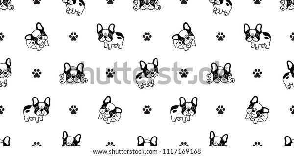 Dog Seamless Pattern French Bulldog Paw Stock Vector Royalty Free 1117169168