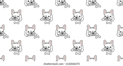 Dog seamless vector french bulldog pattern bone  tile background scarf isolated repeat wallpaper illustration cartoon