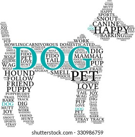 Dog Shaped Dog word cloud on a white background.