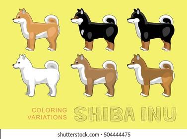 Dog Shiba Inu Coloring Variations Vector Illustration