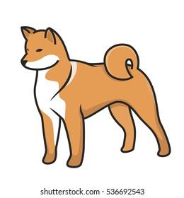 Dog Shiba Inu Vector Illustration Portrait.Dog isolated on white