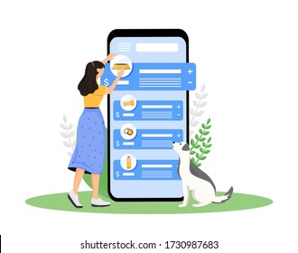 Dog shop cartoon smartphone vector app screen. Puppy owner choose product for domestic animal. Mobile phone display with flat character design mockup. Pet store application telephone interface