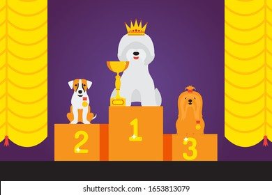 Dog show award, cute pet winner, animal grooming competition podium, vector illustration. Different breeds of dogs, pet cartoon character, award winning animal on exhibition show. Win first place