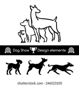 Dog show design vector elements