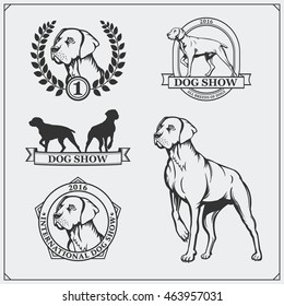 Dog Show labels, emblems, awards, illustrations and silhouettes of dogs.