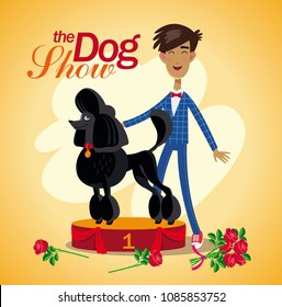 Dog show winner. Black poodle stand in a podium with his happy owner.