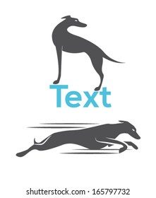 Dog silhouette, greyhound racing dog