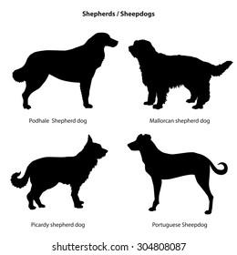Dog silhouette icon set. Shepherd dog collection. Sheedogs.