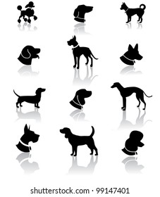 Dog Silhouette Icon Symbol Set EPS 8 vector, grouped for easy editing. No open shapes or paths.