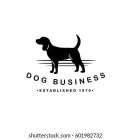 Dog silhouette logo for pet business, pet sitter, breeder, dog walker, veterinarian, shelter, rescue. EPS 10 vector.