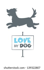 Dog silhouette with signboard