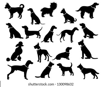 Dog Silhouettes. EPS 8 vector, grouped for easy editing. No open shapes or paths. Dog breeds, veterinary, dog walking, pet sitting logo inspiration. Dog show, competition, pet store, guide dog