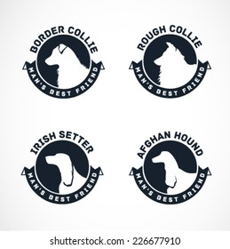 Dog Silhouettes Vector Collection. Vintage Dog Badges