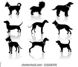 Dog Silhouettes Vector No open shapes or paths.