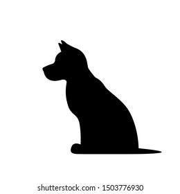 Dog sitting, black vector