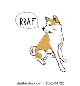 Dog sitting logo template. Akita inu says RRAF