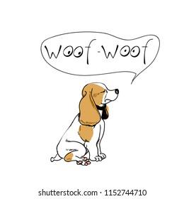 Dog sitting logo template. Beagle says woof