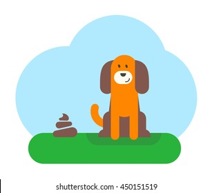 A dog is sitting on the green grass near a dog waste. Flat design vector illustration.