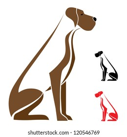 Dog sitting on a white background - vector