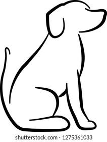 Dog sitting silhouette in white