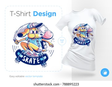 Dog skater with gum. Prints on T-shirts, sweatshirts, cases for mobile phones, souvenirs. Isolated vector illustration on white background.