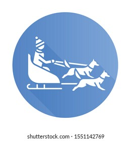 Dog sledding blue flat design long shadow glyph icon. Winter extreme sport, risky activity. Sleigh riding. Cold season outdoor leisure. Group of husky and musher. Vector silhouette illustration