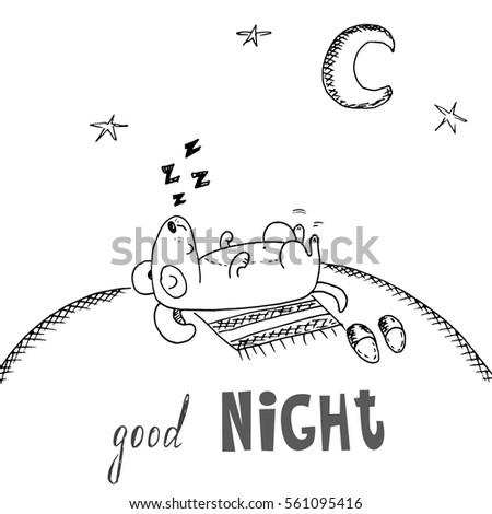 Dog Sleeping On Ground Under Moon Stock Vector Royalty Free
