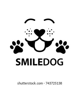 dog smile face with paw and heart shaped nose