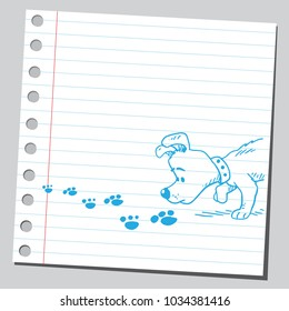 Dog sniffing traces of other animal