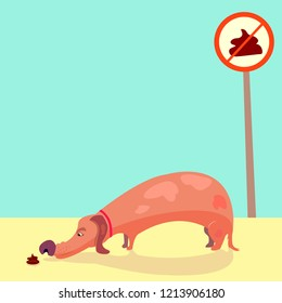 dog sniffs poop. doggie with short legs sniffing shit. cartoon style long dog like a dachshund with red collar. No pooping sign. Beautiful illustration. vector, eps 8