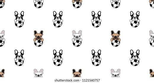 Dog soccer seamless pattern french bulldog vector football repeat background tile cartoon wallpaper isolated