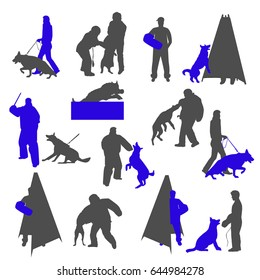 Dog sport and training silhouettes isolated on white background. Dog trainer with bite sleeve. Jumping dog. Trainer behind the mini blind.