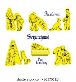 Dog sport vector illustration. Schutzhund training sketches. Men train dogs.