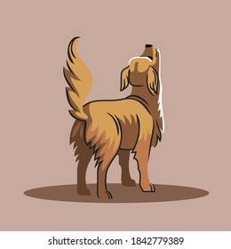 Dog standing with its back to the viewer.