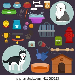 Dog stuff and supply icons flat set with dung kennel leash food paw bowl bone and other goods for pet shop vector illustration.Domestic animals, puppy toy and things care isolated collection