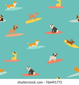 Dog surfers pattern, vector seamless background. Surfing vector backdrop. Dogs breeds on surfboard pattern. Isolated on blue