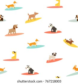 Dog surfers pattern, vector seamless background. Surfing vector backdrop. Dogs breeds on surfboard pattern. Isolated on white