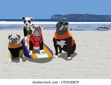 Dog surfing. Dogs in life vests on the beach with a surfboard, seaside and a blue sky on the background